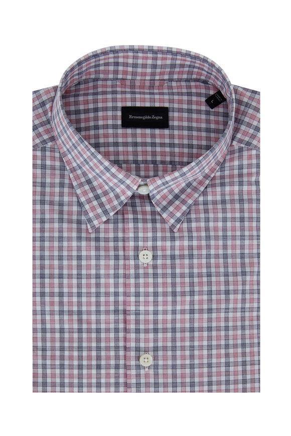 Ermenegildo Zegna Raspberry & Navy Check Tailored Fit Sport Shirt