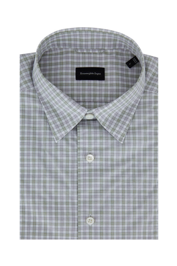 Ermenegildo Zegna Olive & Light Gray Check Tailored Fit Sport Shirt
