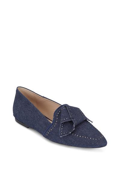 Tod's - Dark Blue Denim Studded Bow Flat