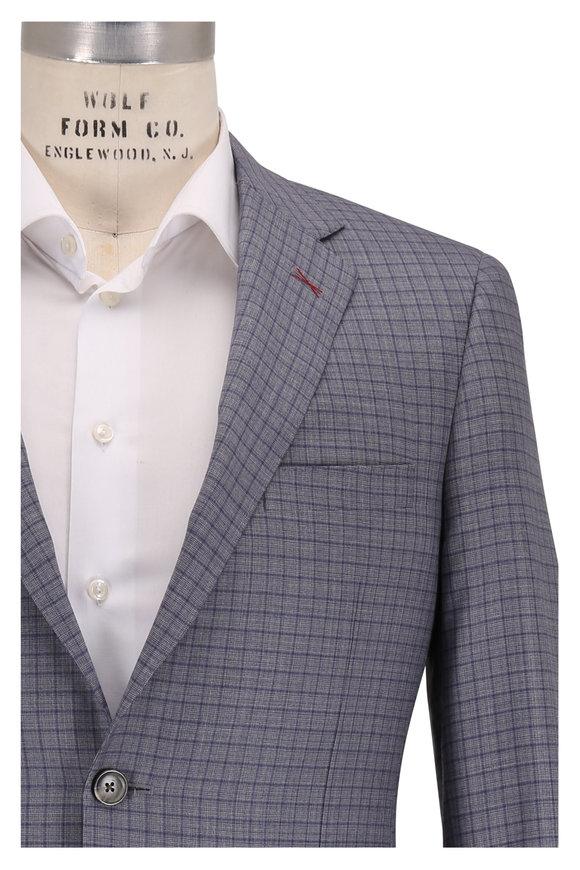 Samuelsohn Bennett Blue & Brown Check Wool & Silk Suit