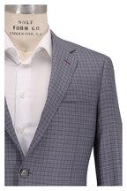 Samuelsohn - Bennett Blue & Brown Check Wool & Silk Suit