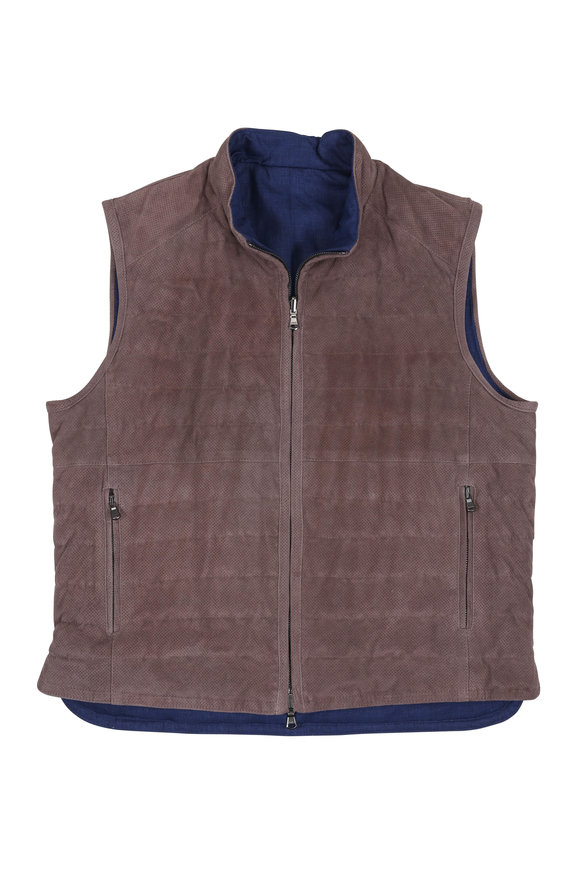 Eddy Monetti Taupe Perforated Leather Reversible Down Vest