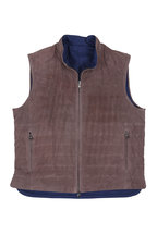 Eddy Monetti - Taupe Perforated Leather Reversible Down Vest