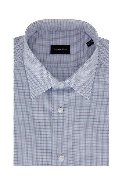 Ermenegildo Zegna - Blue & Red Micro Check Dress Shirt