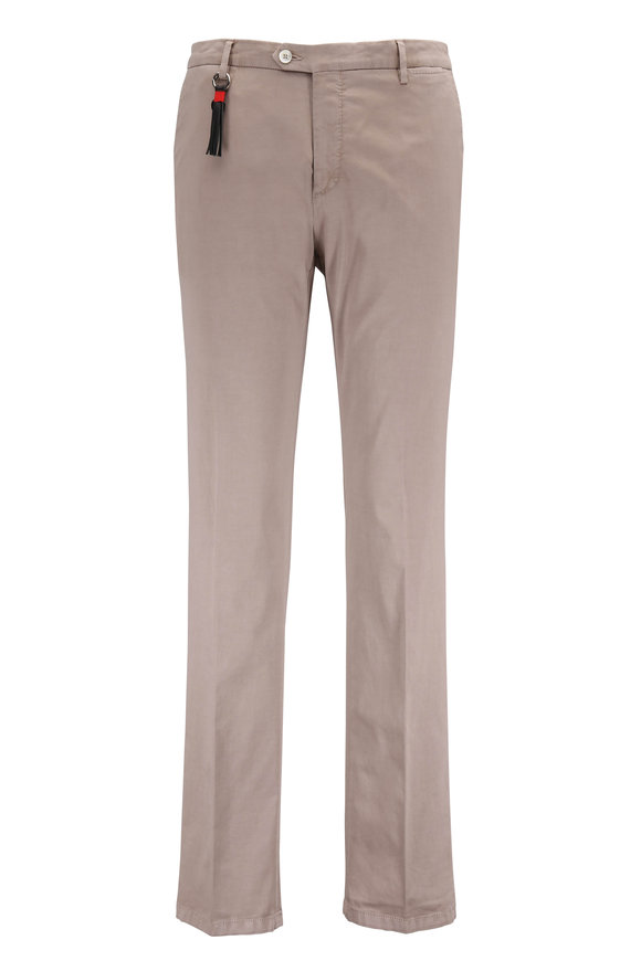 Marco Pescarolo Khaki Stretch Cotton & Silk Flat Front Pant