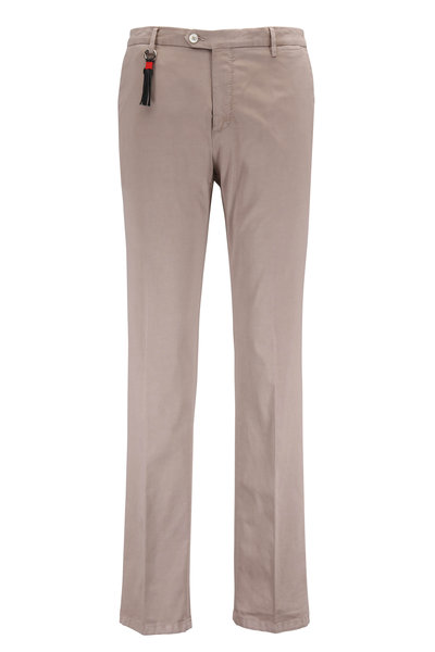 Marco Pescarolo - Khaki Stretch Cotton & Silk Flat Front Pant