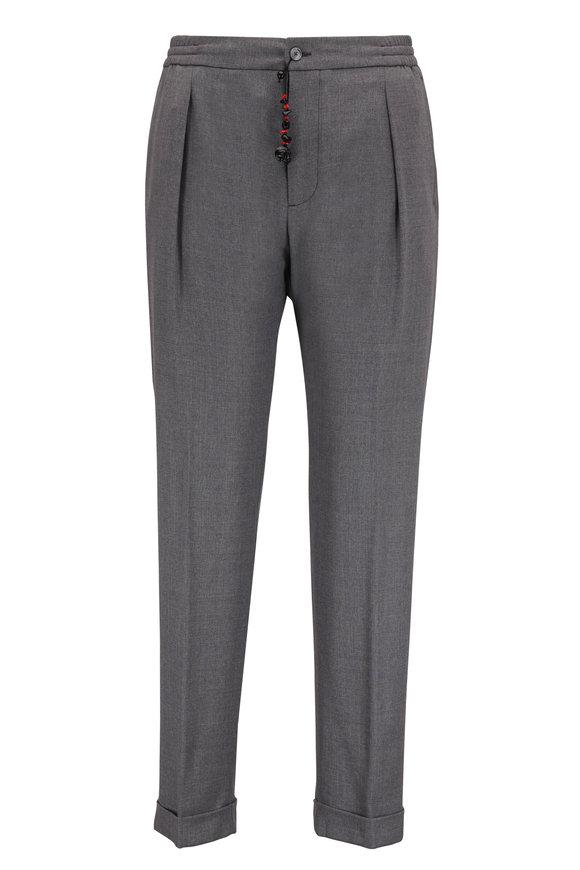 Marco Pescarolo Gray Wool Drawstring Pant