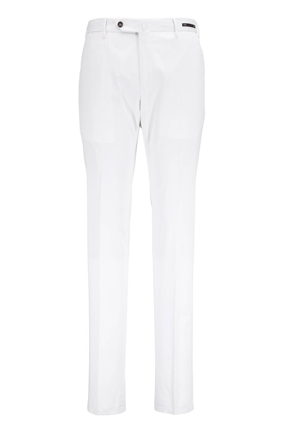 PT Torino White Stretch Cotton & Silk Slim Fit Pant