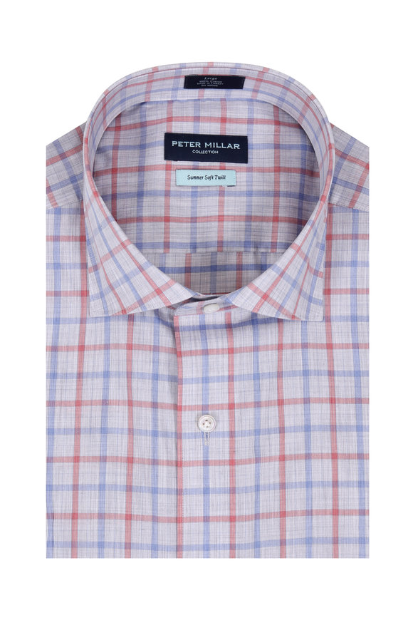 Peter Millar Summer Soft Twill Multi Cradle Check Sport Shirt