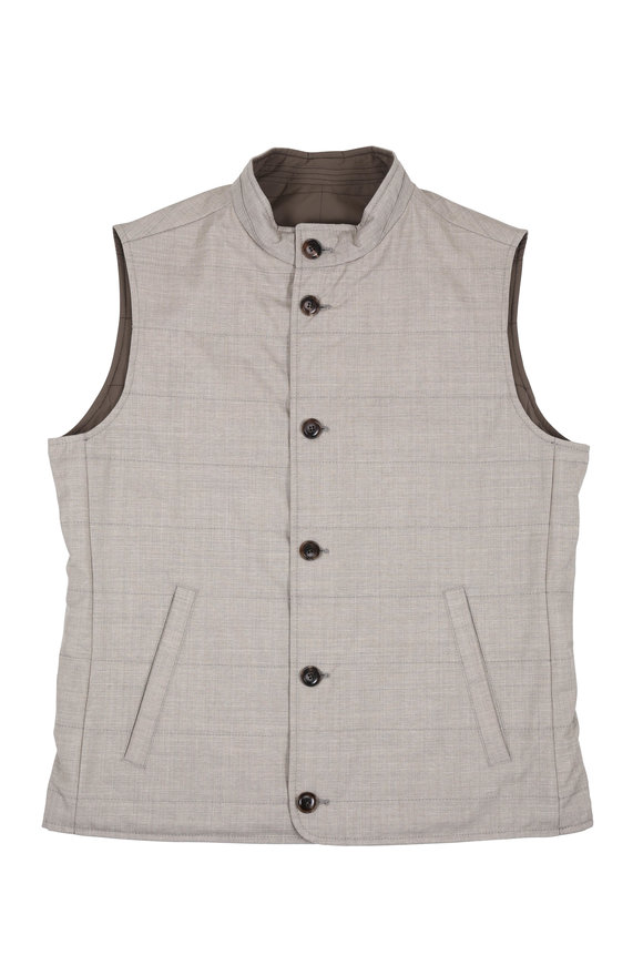 Peter Millar Springtime Tan Nylon & Wool Reversible Vest
