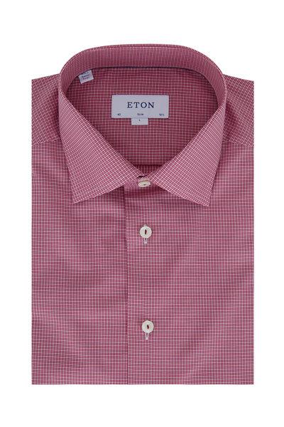 Eton - Raspberry Plaid Slim Fit Dress Shirt