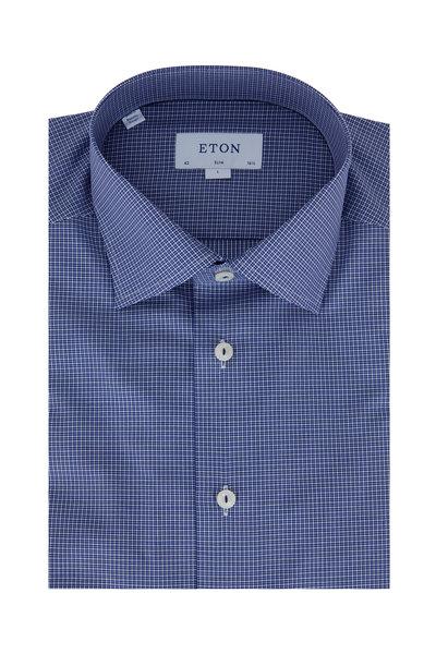 Eton - Navy Blue Check Slim Fit Dress Shirt