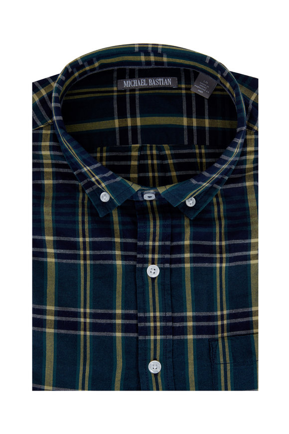 Michael Bastian Navy & Green Madras Short Sleeve Sport Shirt