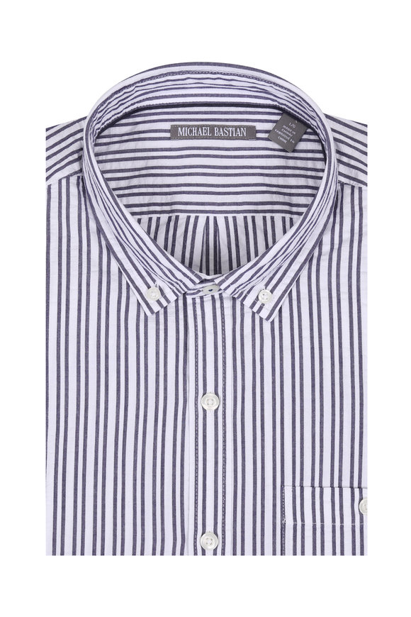 Michael Bastian Blue Striped Seersucker Short Sleeve Sport Shirt