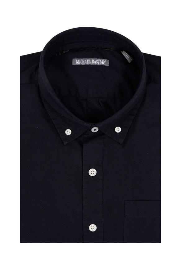 Michael Bastian Navy Blue Poplin Short Sleeve Sport Shirt