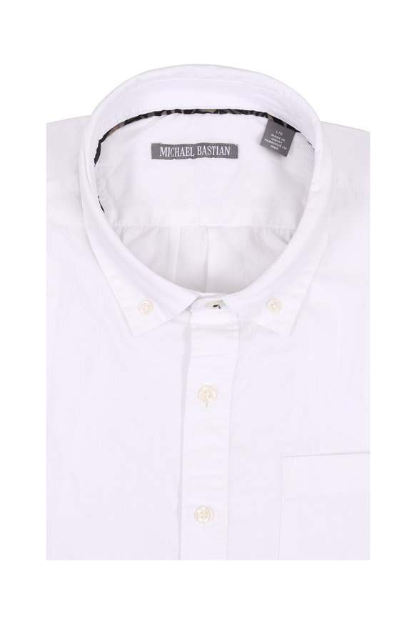 Michael Bastian White Poplin Short Sleeve Sport Shirt