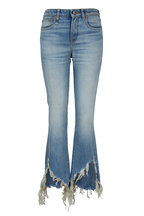R13 - Kick Fit Mason Blue Torn Hem Jean