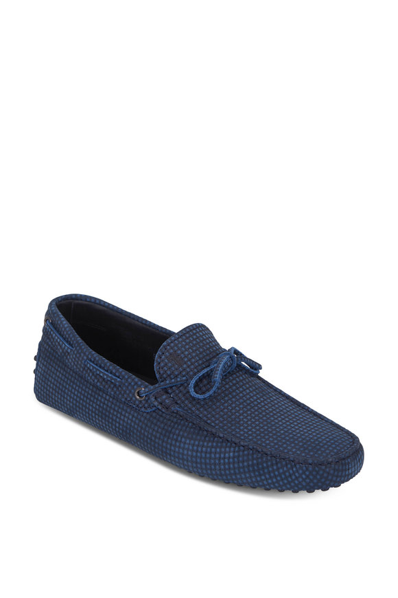 Tod's Laccetto City Gommini Blue Woven Suede Driver