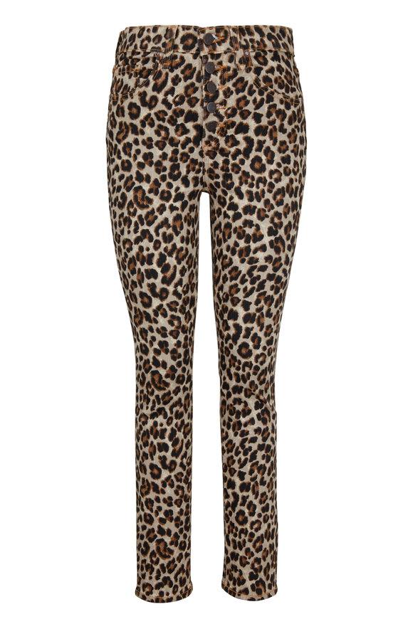 Veronica Beard Debbie Leopard Button Front Skinny Jean