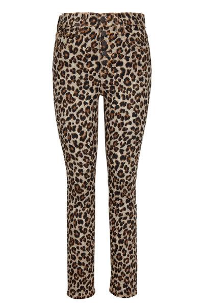 Veronica Beard - Debbie Leopard Button Front Skinny Jean