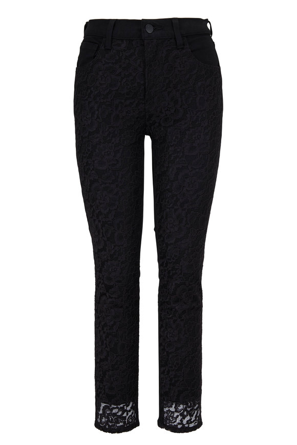 J Brand Ruby Black Lace Front High-Rise Crop Jean
