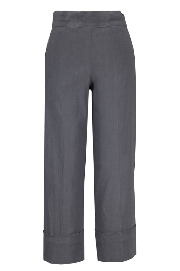 D.Exterior Gray Lurex Side-Striped Cropped Pant