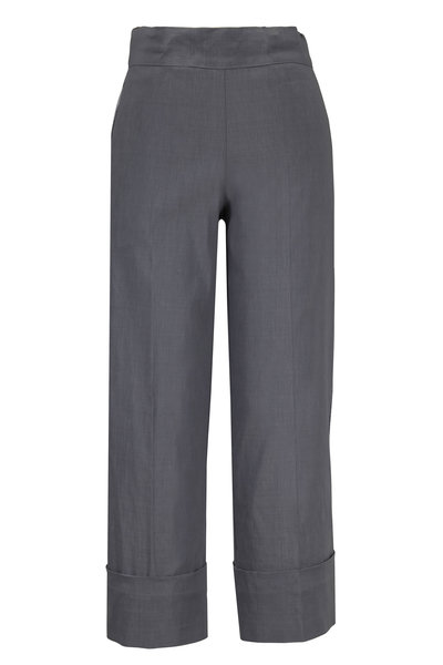 D.Exterior - Gray Lurex Side-Striped Cropped Pant