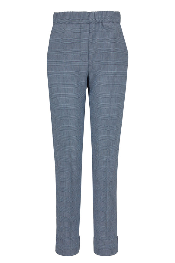 D.Exterior Navy Stretch Linen Pull-On Pant
