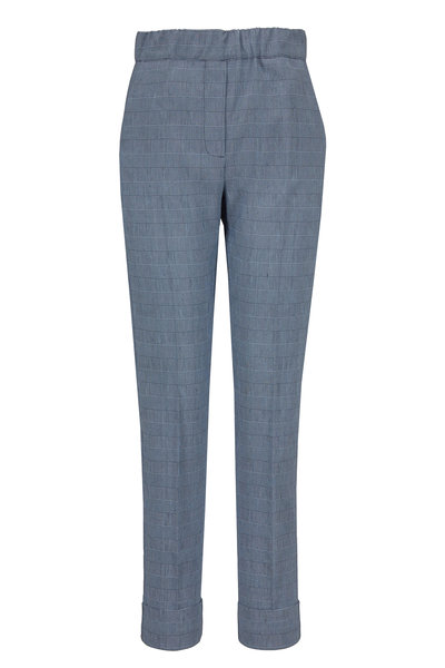 D.Exterior - Navy Stretch Linen Pull-On Pant