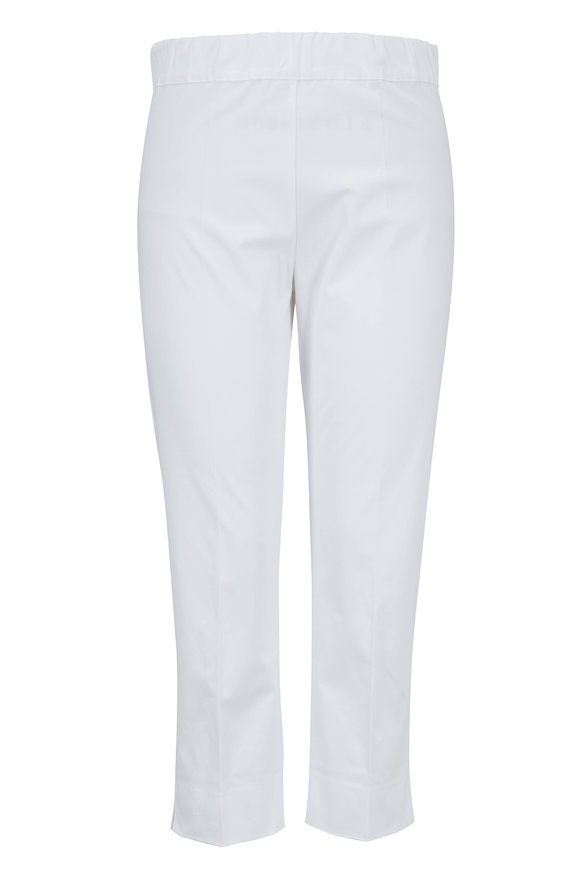 D.Exterior Rasatello White Stretch Cotton Pull-On Capri