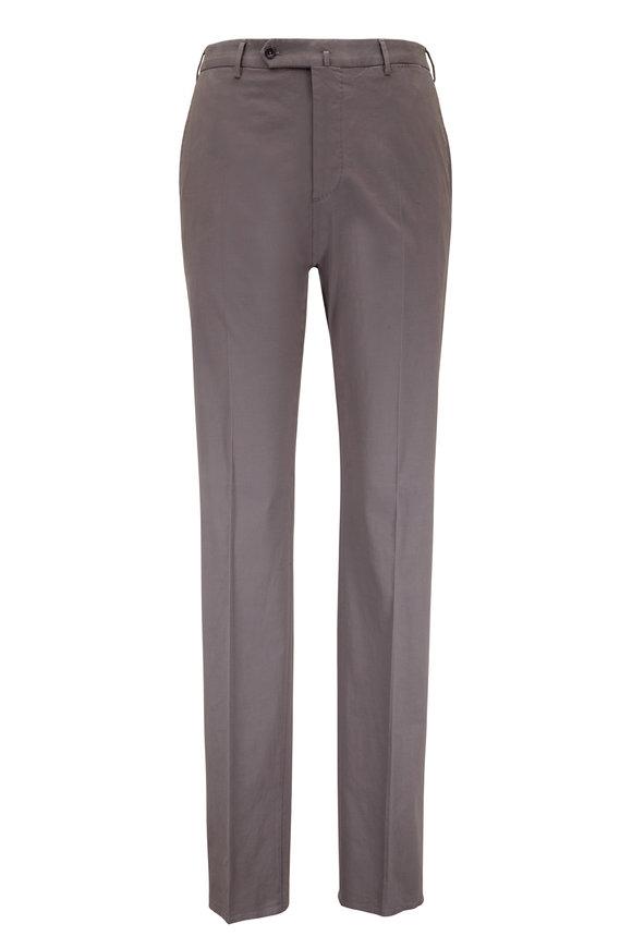 Incotex Gray Stretch Cotton & Silk Classic Fit Pant