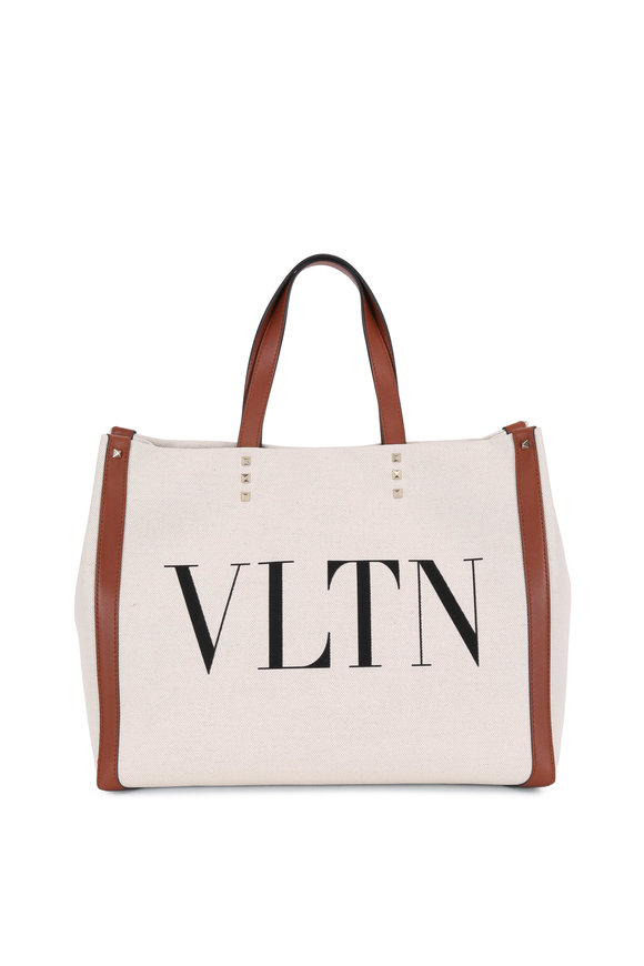 Valentino Garavani VLTN Natural Canvas & Cognac Leather Grande Tote