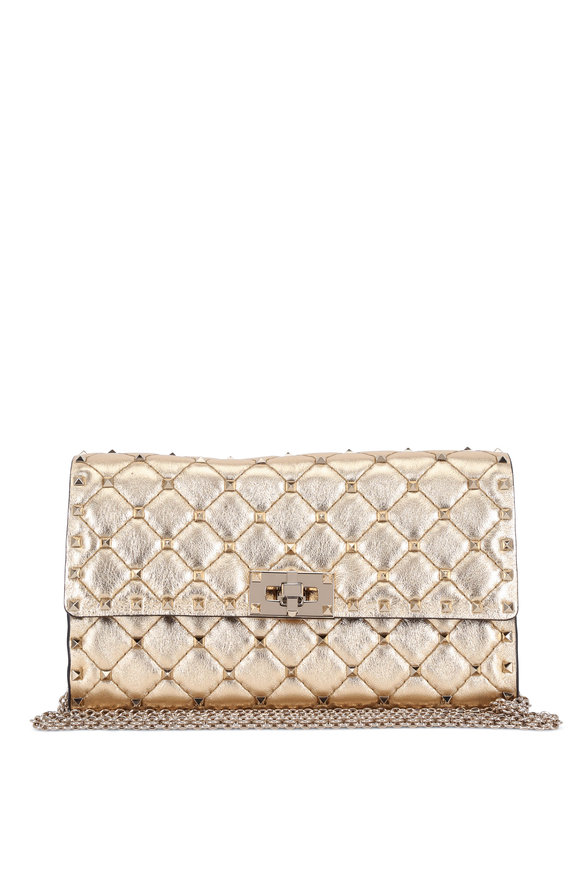 Valentino Garavani Rockstud Spike It Gold Quilted Crossbody