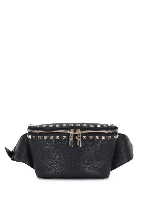Valentino Garavani Rockstud Black Pebbled Leather Belt Bag