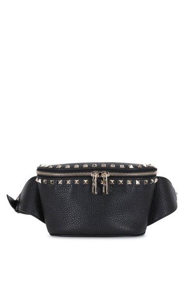 Valentino Garavani - Rockstud Black Pebbled Leather Belt Bag