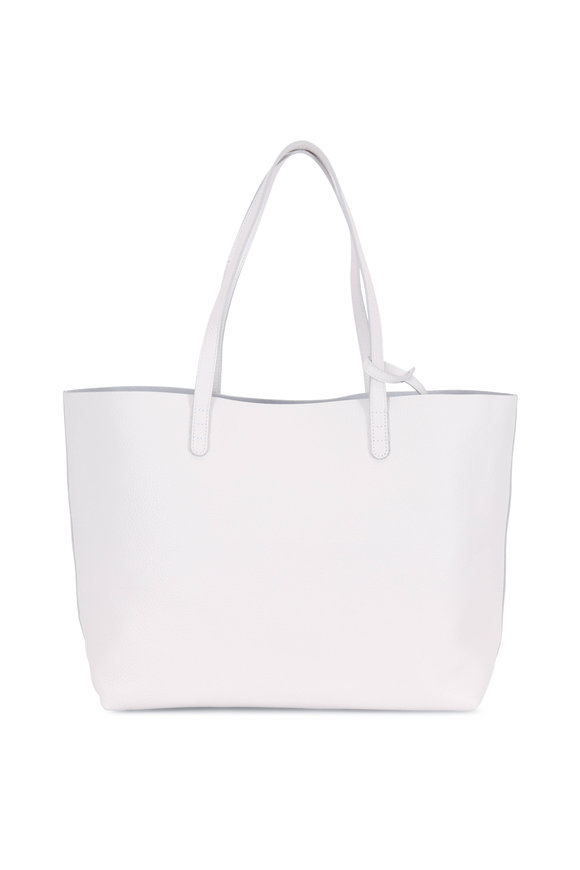 Mansur Gavriel White Pebbled Soft Leather Large Tote