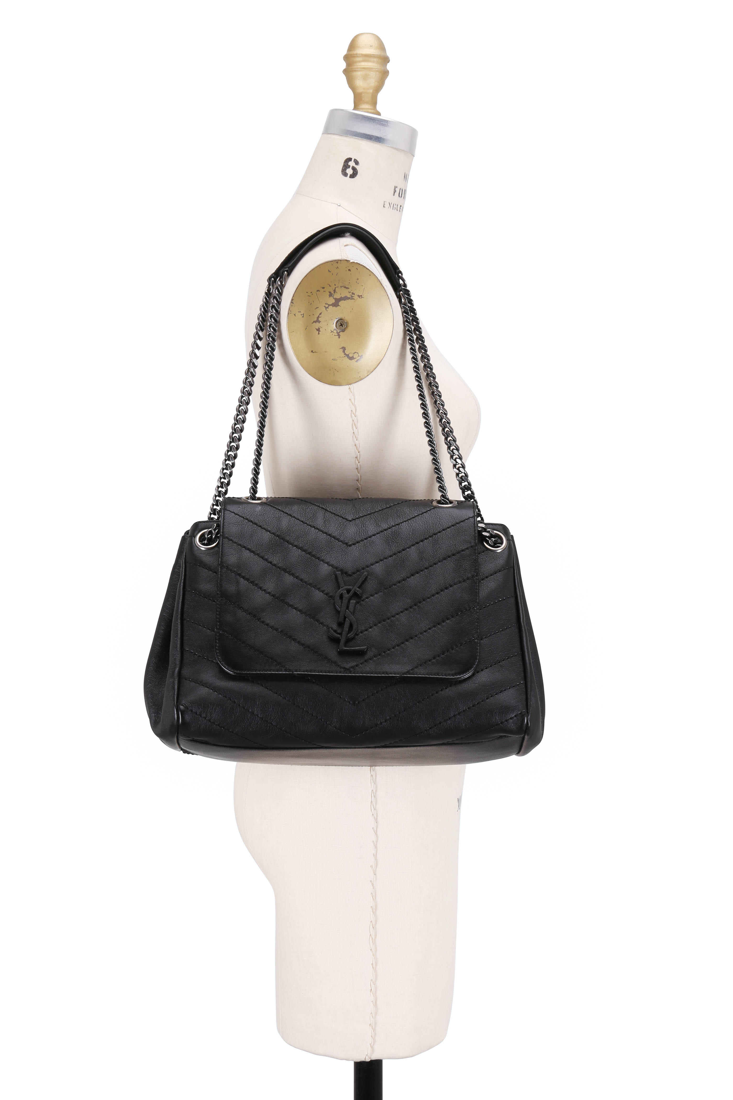 a1694786cb9 Saint Laurent - Nolita Monogram Black Vintage Leather Large Bag ...