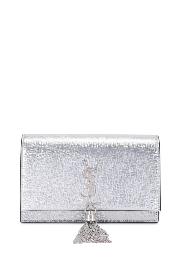 Saint Laurent Kate Silver Metallic Leather Chain Crossbody