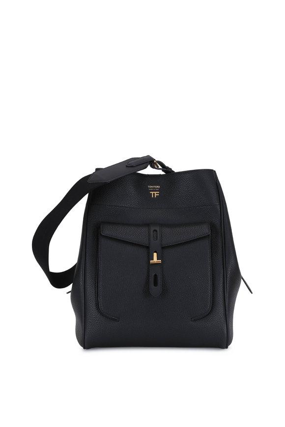 Tom Ford Black Grained Leather Medium Hobo Bag