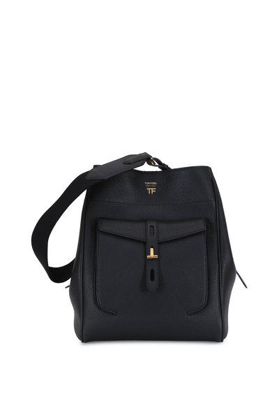 Tom Ford - Black Grained Leather Medium Hobo Bag