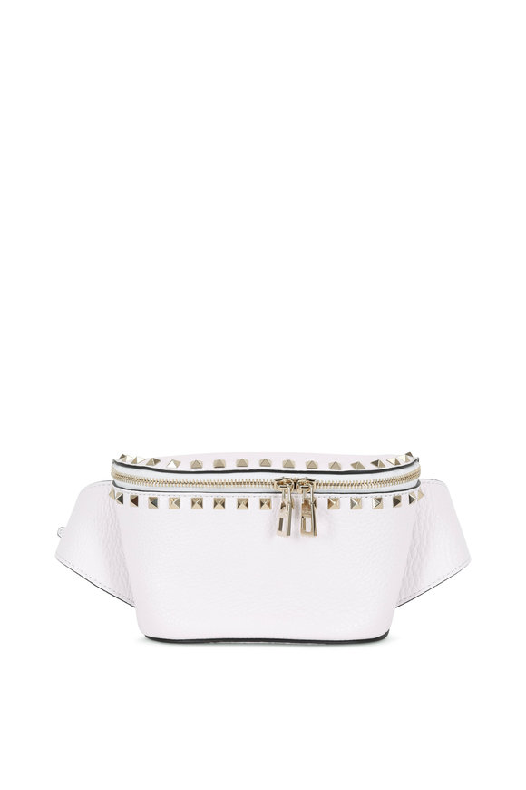 17a2d2836c9c Valentino Garavani Rockstud Bianco Pebbled Leather Belt Bag