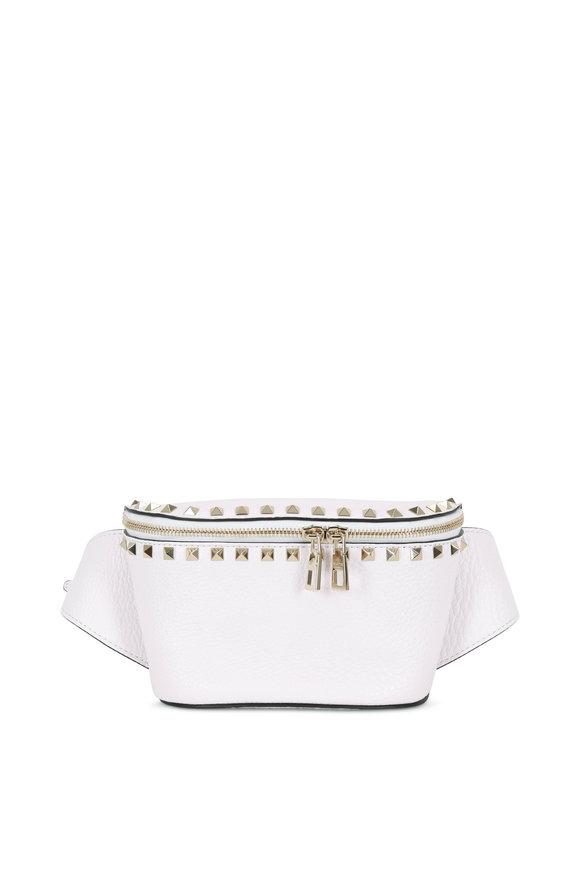 Valentino Garavani Rockstud Bianco Pebbled Leather Belt Bag