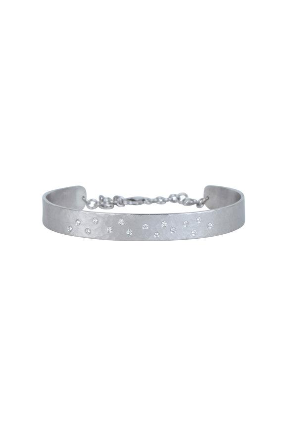Julez Bryant 14K White Gold Hammered Scattered Diamond Bracelet