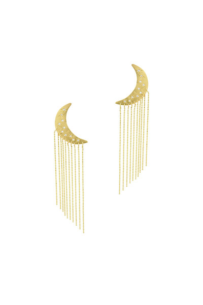 Julez Bryant - 14K Yellow Gold Moon Fringe Earrings