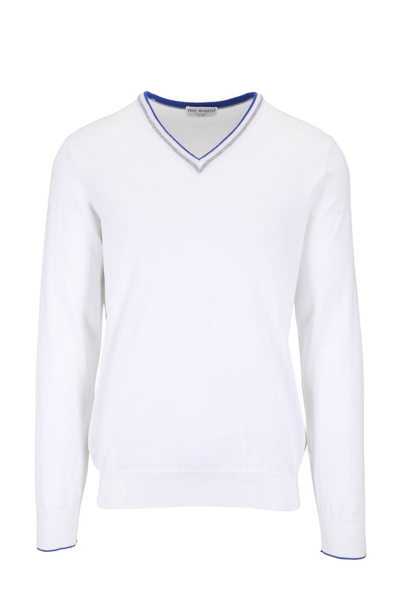 Eddy Monetti White Cotton V-Neck Pullover