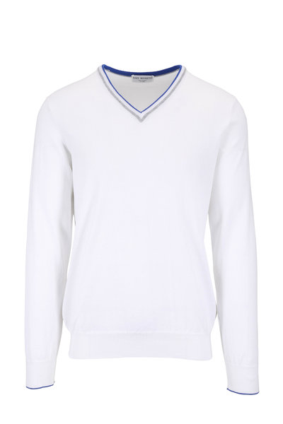 Eddy Monetti - White Cotton V-Neck Pullover
