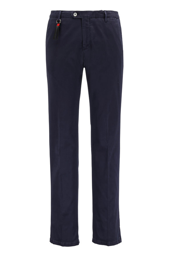 Marco Pescarolo Navy Stretch Cotton & Silk Flat Front Pant
