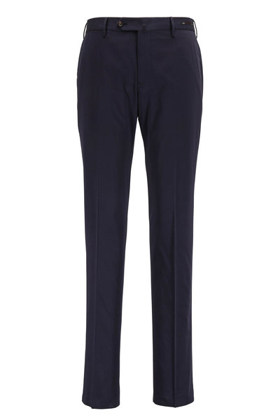 PT Torino - Navy Stretch Cotton & Silk Slim Fit Pant