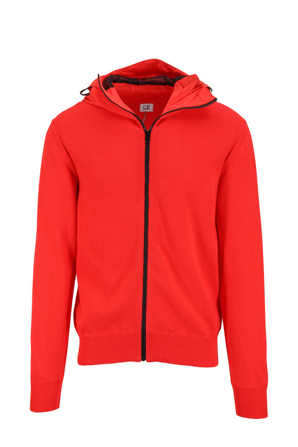 CP Company Bright Red Front Zip Cotton Knit Hoody
