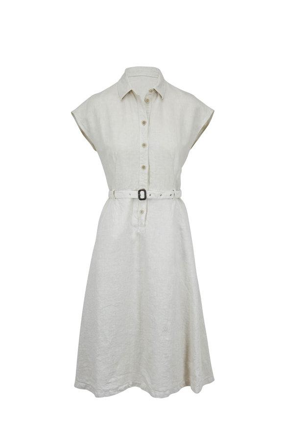 Aspesi Beige Linen Cap-Sleeve Belted Dress